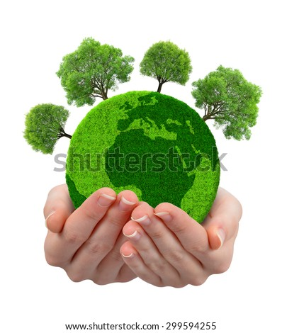 Green planet with trees in hands isolated on white background - stock photo