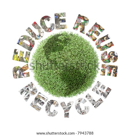 Green plant globe and three ecological phrases - reduce-reuse-recycle with superimposed paper cuttings, metal cans and plastic bottles - clean planet concept - stock photo