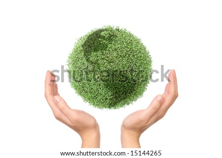 Green plant globe between two hands on white background - environmental protection concept - stock photo