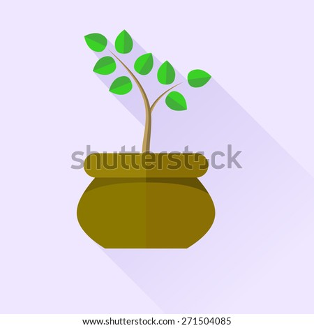 Green Plant in Brown Pot Isolated on Blue Background - stock photo