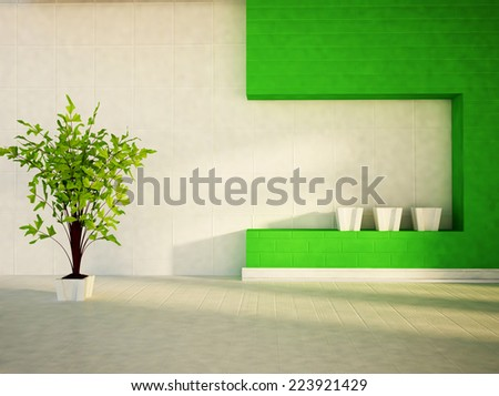 green plant in the white vase - stock photo
