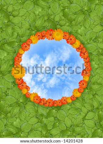 green plants, blue sky and flower circle - stock photo