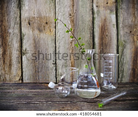 Green plants in laboratory equipment on rustic wooden background - stock photo