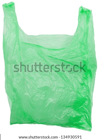 Green plastic bag empty. Object is isolated on white background without shadows. - stock photo
