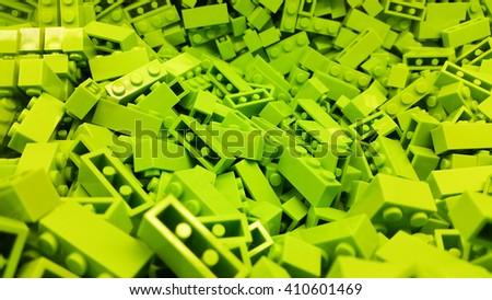 Green plastic blocks - stock photo