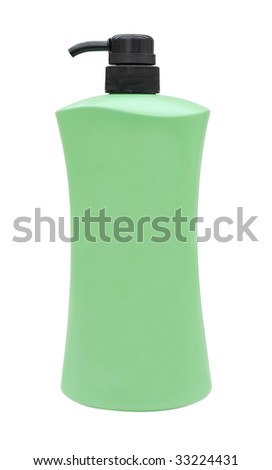 green plastic bottle of shampoo with white background - stock photo