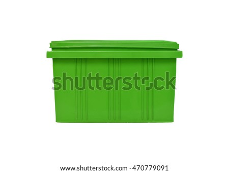 green plastic box packaging of finished goods product on white background with clipping paths