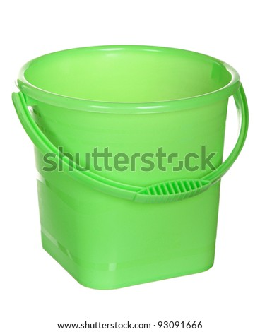 Green plastic bucket isolated on a white background. empty Green plastic household bucket on a white background - stock photo