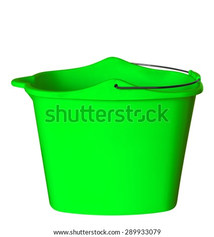 Green plastic bucket isolated on white background. Clipping path included.