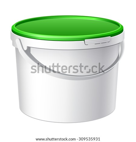 Green plastic bucket with White lid. Product Packaging For food, foodstuff or paints, adhesives, sealants, primers, putty. - stock photo
