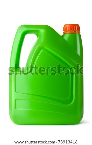 Green plastic canister for household chemicals. Isolated on white. - stock photo