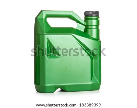 Green plastic canister of motor oil isolated on white background - stock photo