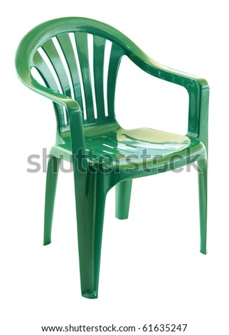 Green plastic chair on a white background