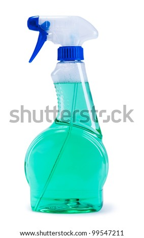 Green plastic dispenser with cleaning liquid on white background