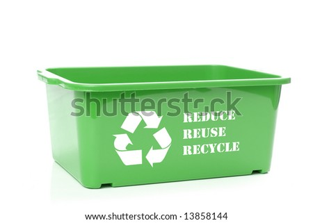 Green plastic disposal container with white recycle symbol  and reduce-reuse-recycle text - over white background - stock photo