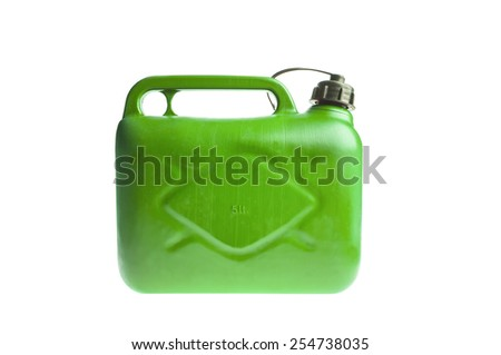 Green plastic fuel canister isolated on white - stock photo
