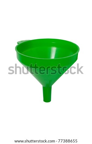 Green plastic funnel isolated on white with clipping path. - stock photo