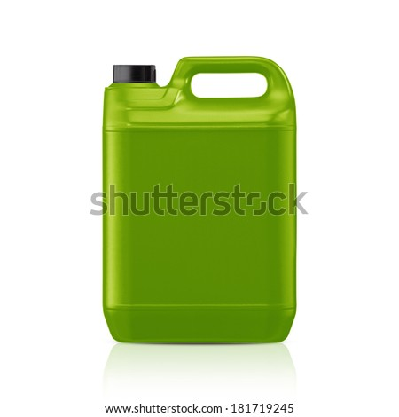 Green plastic gallon, jerry can  isolated on a white background.  (with clipping work path) - stock photo