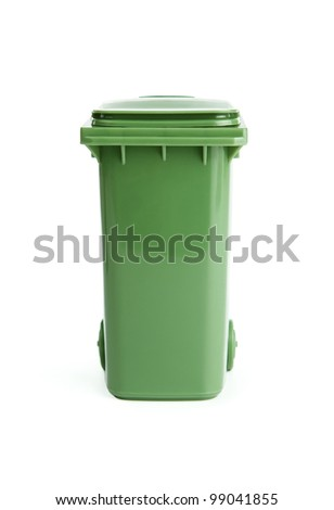 Green plastic garbage bin isolated on white background - stock photo