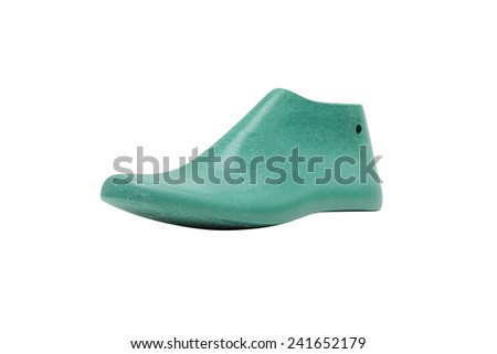 Green plastic last shoe rough surface from use isolated on white background, (with clipping path) - stock photo