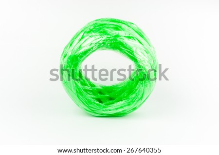 Green Plastic rope isolated background