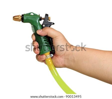 Green plastic sprayer for gardening - stock photo