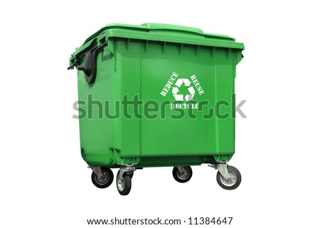 Green plastic trash container with white recycle symbol and reduce-reuse-recycle text - over white background - stock photo