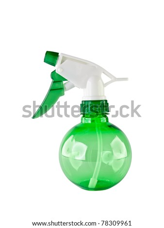 green plastic water spray bottle isolated on white background
