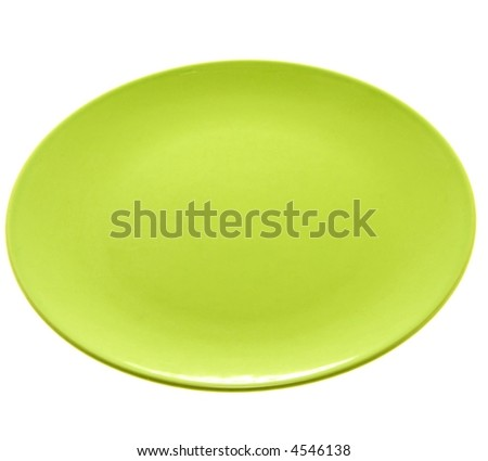 Green plate on white background - stock photo