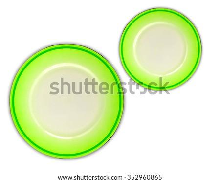 Green plates on white background - stock photo