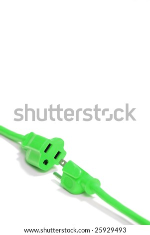 Green Plug isolated on white in the studio