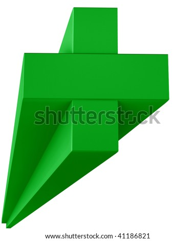 Green plus sign in 3D isolated on white - stock photo