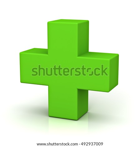 Green plus sign isolated on white background with reflection. 3D rendering.
