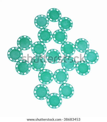 Green poker chip celtic symbol - stock photo