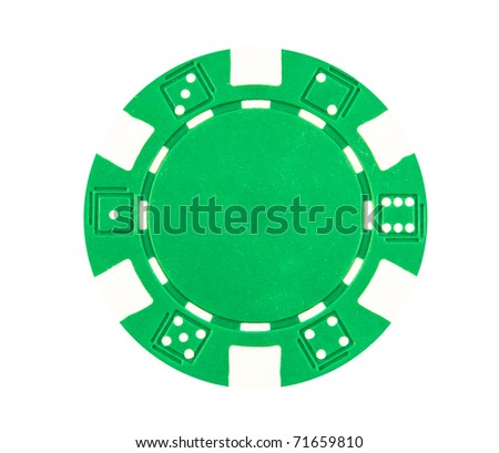 Green poker chip on a white background. - stock photo