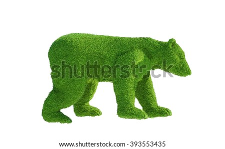 green polar bear from the grass render 3D - stock photo