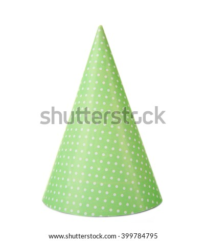 Green polka dot party hat, isolated on white - stock photo