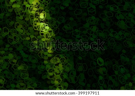 Green polygonal shape flowing energy, digital art illustration work. - stock photo