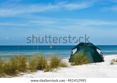Green Portable Beach Tent for Protection from the Sun