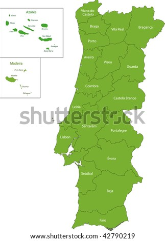 Green Portugal map with regions