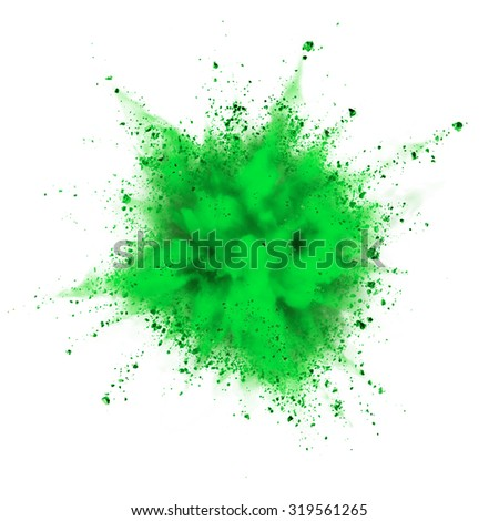 green powder explosion isolated on white background - stock photo
