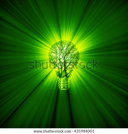 Green power bulb / 3D illustration of green energy concept with tree light bulb emitting rays of light - stock photo