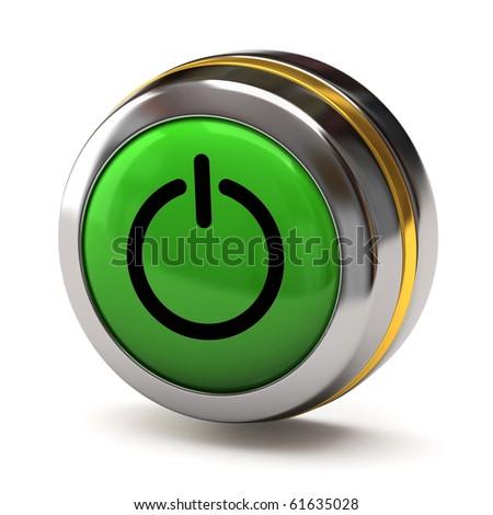 Green power button - stock photo