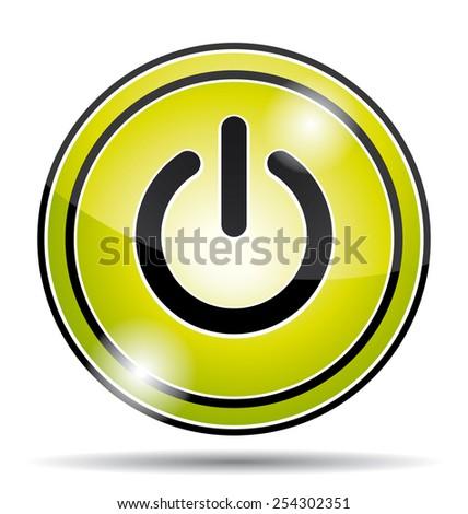 Green power button icon. - stock photo