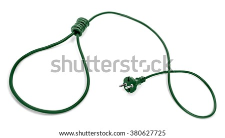 Green power cable and plug with noose on other end. Green energy controversy concept. Renewable energy is not working. Too much cost, not enough output or too little emissions reduction. - stock photo