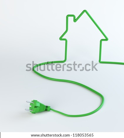 Green power cord shaped like a house - renewable energy concept - stock photo