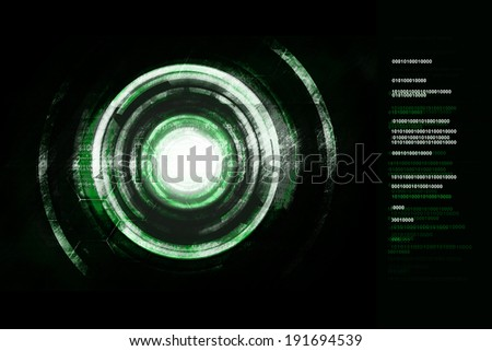 Green power cyborg technology background.