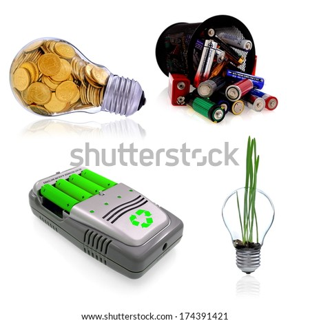 Green power farm,  charger aa accu,  batteries,  glass bulb,  and renewable energy sources - stock photo