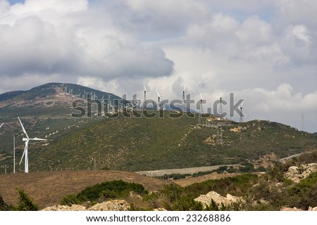 green power from windmills in spain - stock photo