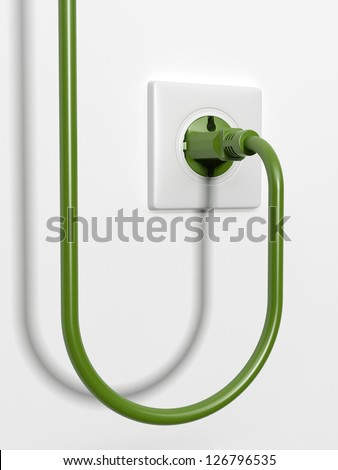 Green power plug - stock photo